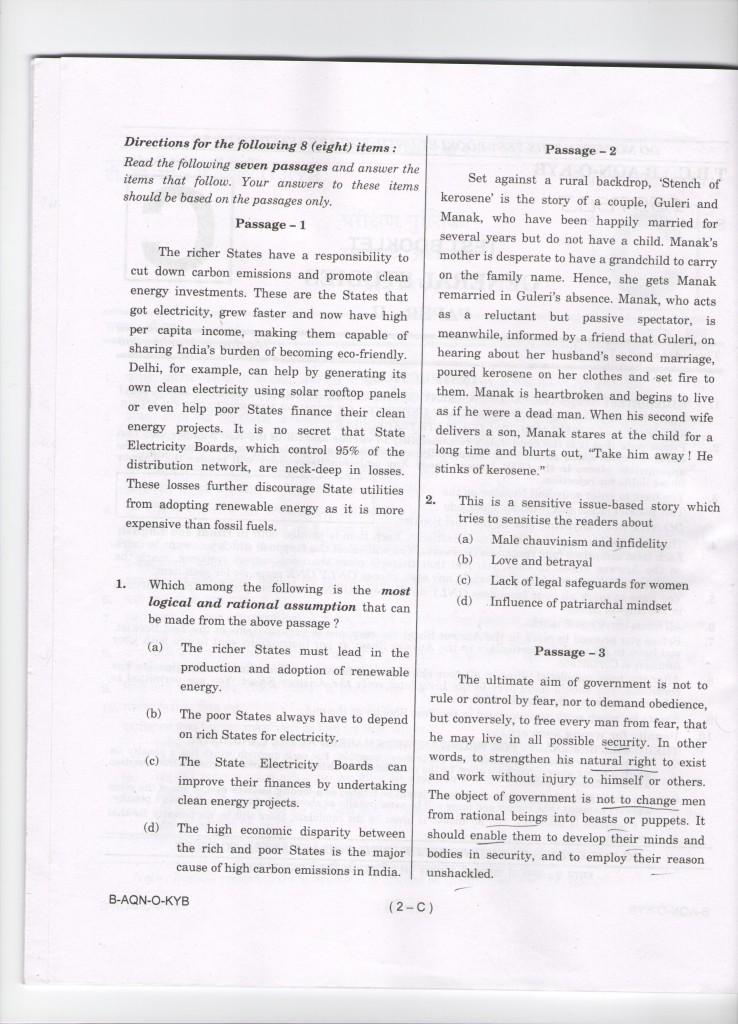 Insights upsc prelims gs-2 question paper